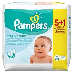 Pampers Feuchte Tücher Baby Fresh Promopack 5 Packungen + 1 Gratis, 2er Pack (2 x 384 Tücher)