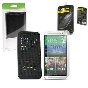 HTC One M8 (2014) Pack Accessoires -Comprend GRIS HTC One (M8) Housse Dot View HC M100 Flip Etui & CaseBase Protecteur d'écran Premium en Verre Trempé