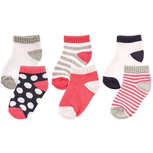 Luvable Friends 6-Pack No Show Socks, Pink and Gray, 6-12 Months