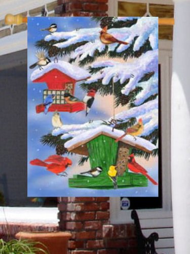 0153FL Winter Bird Feeders Snow Covered Large Flag