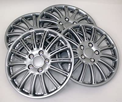 TuningPros WSC-007S15 Hubcaps Wheel Skin Cover 15-Inches Silver Set of 4