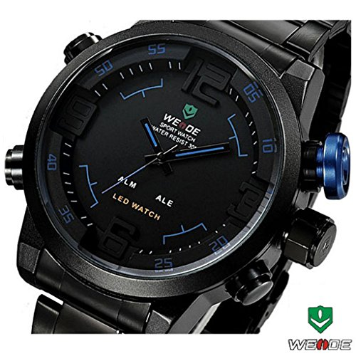 Weide® Double Japan Movts Waterproof Military Watch Stainless Steel Band Led Quartz Wrist Watch-Blue
