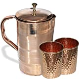 AsiaCraft Elegant Pure Copper Jug With Lid With Set Of 2 Hammered Tumblers
