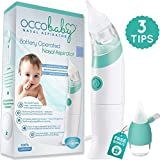 OCCObaby Baby Nasal Aspirator - Safe Hygienic and Quick Battery Operated Nose Cleaner with 3 Sizes of Nose Tips Includes Bonus Manual Snot Sucker for Newborns and Toddlers (Limited Edition) (Color: Ocean Breeze, Tamaño: Limited Edition)