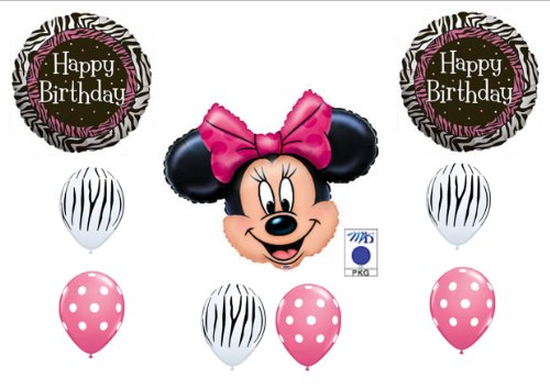 Pink Minnie Mouse And Zebra Print Birthday Party Balloons Decorations Supplies front-971520