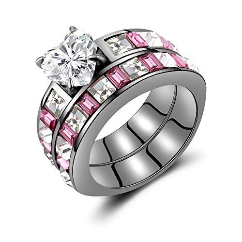 Heart Shap Diamond Cut Halo Men Women Engagement Ring Set Created Pink Sapphire Fashion Ring