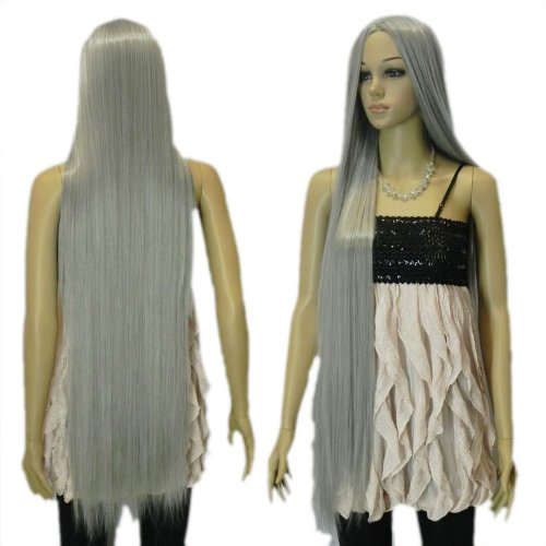 Yazilind Women S Extra Long Silver Grey Straight Hair