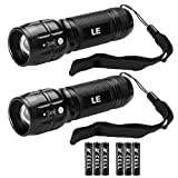 LE Adjustable Focus Mini LED Flashlight Torch, Super Bright, Batteries Included, Zoomable LED Flashlights (2 Pack)