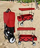 RED OUTDOOR SPORT COLLAPSIBLE FOLDING WAGON W/ CANOPY GARDEN UTILITY SHOPPING TRAVEL CART LARGE ALL TERRAIN BEACH TIRES - EASY SETUP NO SCREWDRIVER AND TOOLS TO SETUP