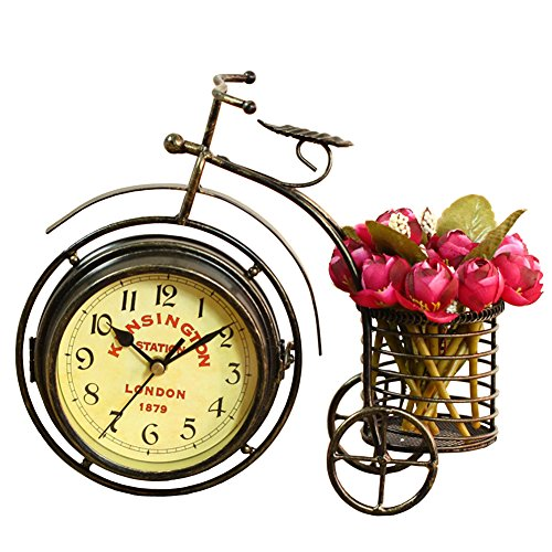 NEOTEND Handmade Vintage Bicycle Clock Bike Mute Two Sided Table Clock 0