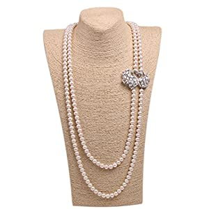 Wild Wind (TM) Couple Diamond Swan Multi Pearl Strands Necklaces (Two Layers White Pearl)