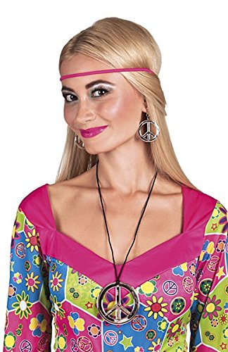 3 Piece 1960s Hippie Fancy Dress Set with Shiny Silver Effect Necklace and Earrings.