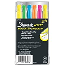 Sharpie 27076 Accent Pocket Style Highlighter, Assorted Colors, 6-Pack