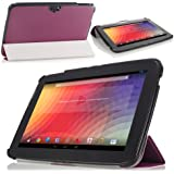 MoKo Ultra Slim Lightweight Smart-shell Stand Cover Case for Google Nexus 10 inch Tablet by Samsung, PURPLE (with Smart Cover Auto Wake/Sleep)