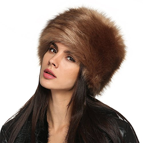 Yisqzjzj Faux Fur Russian Cossack Style Hat Headband Ear Warmer BrownOne Size (Cossack Pants compare prices)