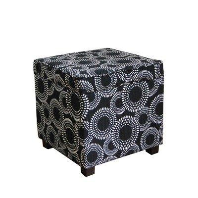 Square Storage Cube Ottoman in Black