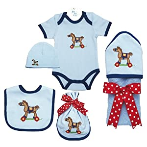 Tan Pony Hooded Baby Towel, Bib, Burp Pad, Romper and Hat Set For 0-6 Month Olds