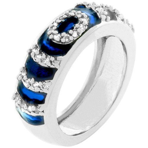 September Birth Stone Dark Blue Sapphire Enamel Eternity Ripple Ring Band White Gold Rhodium Plated Navy Blue Enamel Eternity Ring with Accented Pave CZ Cubic Zirconia Stones Ripples in Silvertone 7 mm x 24 mm x 4 mm SIZE WOMENS 7