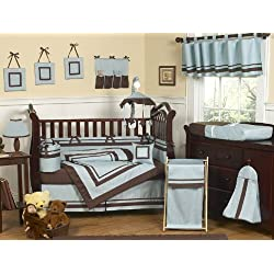Sweet Jojo Designs Designer Blue and Brown Hotel Modern Baby Boy Bedding 9pc Crib Set