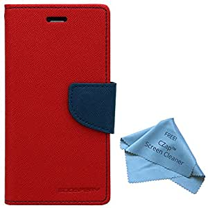 CZap Mercury Diary Card Wallet Flip Cover Back Case for Samsung Galaxy Grand Max G7200 - Red Blue
