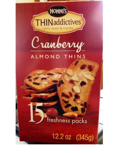 Thin Addictives Almond Thins Cookies, Cranberry, 12.2 Ounce, 15 Packs