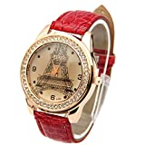 Vktech® New Crystal Eiffel Tower Lady Women Girl Black Leather Band Quartz Wrist Watch (Red)