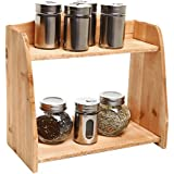 Country Farm Style 2 Tier Wooden Spice Rack / Free Standing Home Storage Organizer Shelves - MyGift®