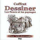 echange, troc Edigo - Coffret Dessiner les fleurs et les paysages : 2 livres + le kit à dessin complet