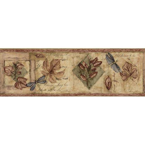 Waverly 5508360 6.88-Inch High Textured Leaf Wall Border, Burgundy