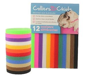 ColliersIDChiots (Standard: 34cm) - 12 Couleurs - Attache en tissu velcro flexible et lavable