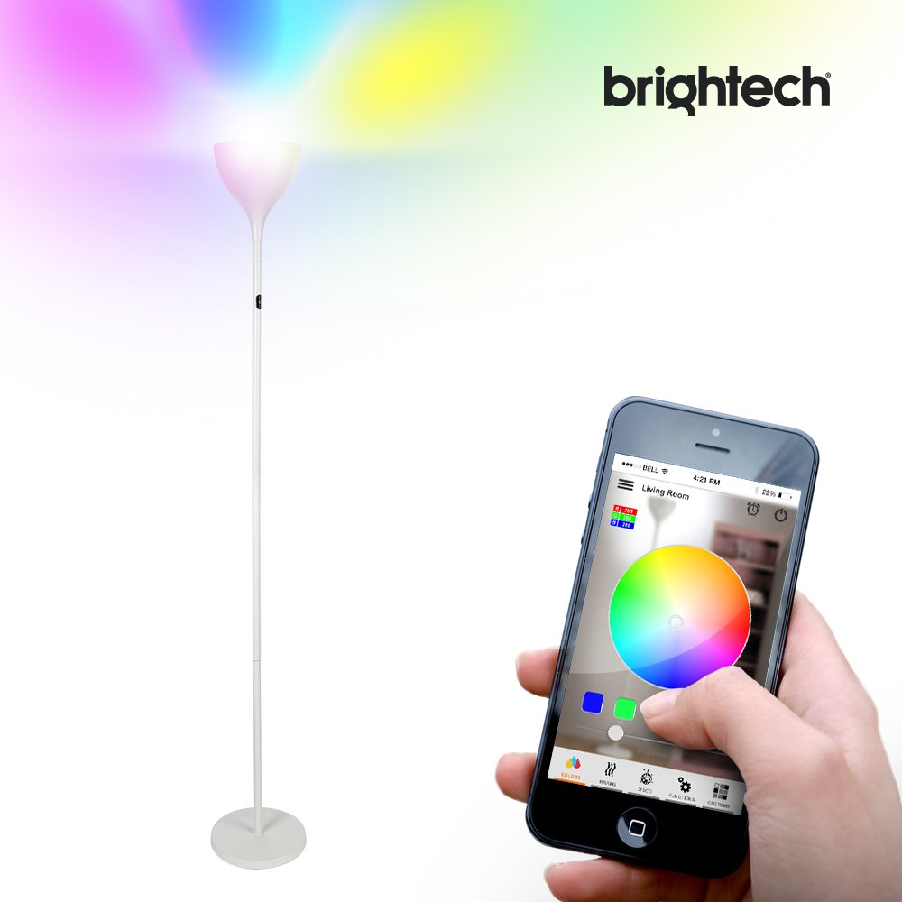 Brightech - Kuler SKY LED Torchiere Floor Lamp - RGB Color Changing Lights controlled with Apple iOS App - Sync Lamp to Play Music while Creating Thousands of Color Patterns - Sleek White Finish