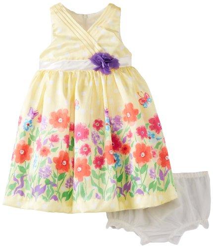 Nannette Baby-Girls Infant 2 Piece Floral Rosette Dress Set, Lemon Juice, 12 Months