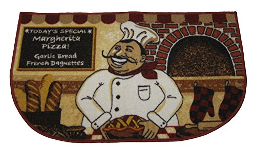 Fat Chef with Mustache 18 X 30 Inch Area Accent Rug Mat (Italian Chef Kitchen Rug compare prices)