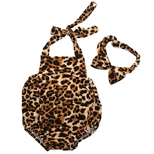 buy Baby Girls Halter Leopard Printed one-piece+Hairband Bodysuits Clothes Outfit (0-6 Months) for sale