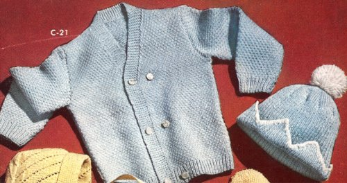 Vintage Knitting PATTERN to make - Baby Cap Cardigan Sweater Boy Sz 1 2 3. NOT a finished item. This is a pattern and/or instructions to make the item only.