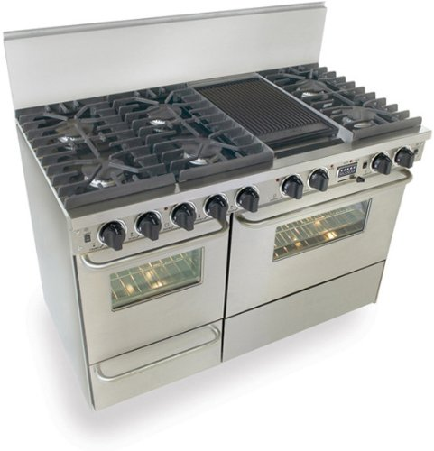 """TTN-537-7BW 48"""" Pro-Style Dual-Fuel Natural Gas Range with 6 Sealed Ultra High-Low Burners 3.69 cu. ft. Convection Electric Oven Self-Cleaning and Double Sided Grill/Griddle Stainless"""