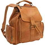 Le Donne Leather Multi Pocket Back Pack Tan thumbnail