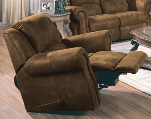 Recliner Sofa Chair Nail Head Trim Distressed Brown Microfiber