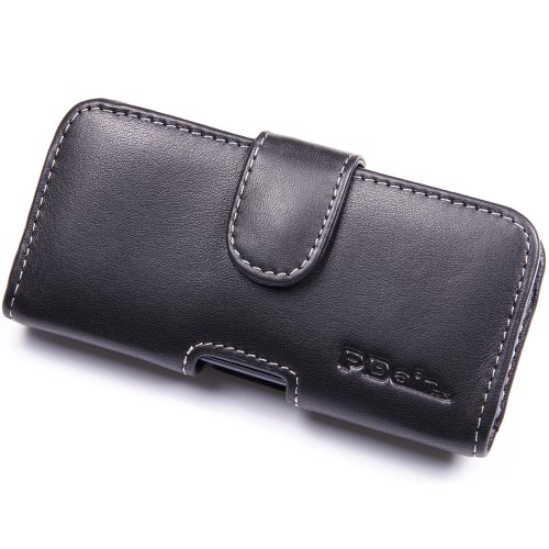 Best Price Apple iPhone 5S Leather Case - Horizontal Pouch Type (Black) by Pdair