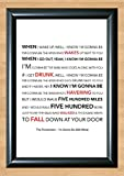 The Proclaimers 'I'm Gonna Be (500 Miles)' Lyrical Song Print Poster Art A4 Size (Typography)