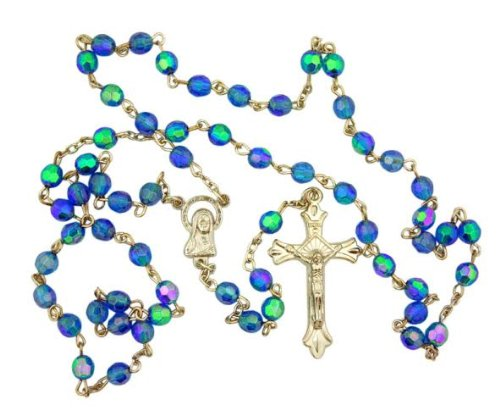 Light Blue Aurora Borealis style Glass 6MM Bead Rosary w Virgin Mary Center (Rosary Centers compare prices)