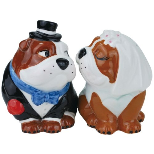 Westland Giftware Mwah Wedding Bulldogs Magnetic Ceramic Salt And Pepper Set, 3.5-Inch