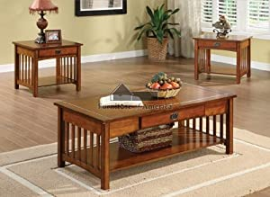 New Quot Seville Quot Mission Style Oak Finish Wood 3pc Coffee