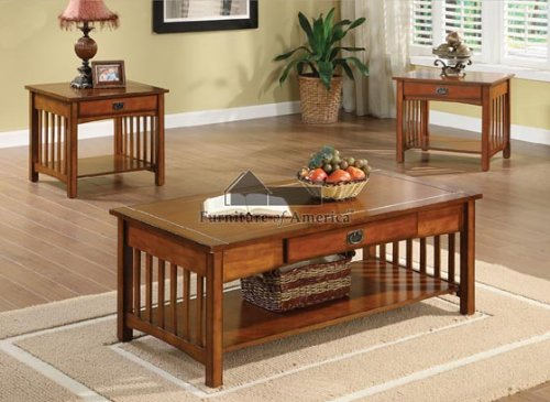 New Seville Mission Style Oak Finish Wood 3PC Coffee End Table
