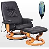 TUSCANY LEATHER BLACK SWIVEL RECLINER MASSAGE CHAIR w FOOT STOOL ARMCHAIR 8 MOTOR MASSAGE UNIT BUILT IN