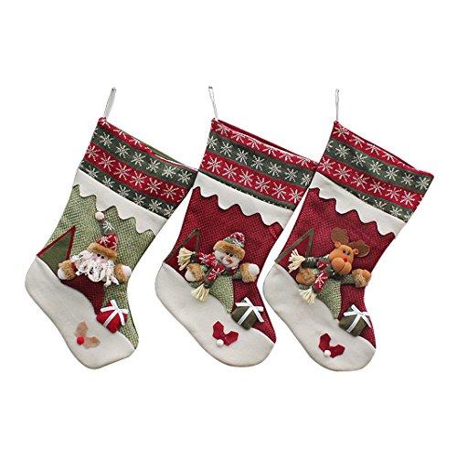Moon mood® 3pcs Natale calze appese Babbo Natale del pupazzo di neve Elk modello partito natale Decorazioni regalo Candy ornamenti figlio Albero Natale Borse decorazione