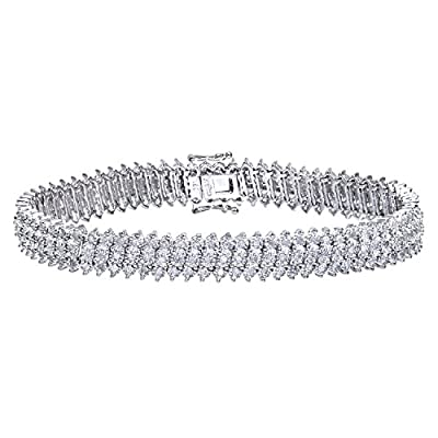 Ariel Women's Diamond 3-Row Bracelet, 9ct White Gold, Prong Setting 1.5 Carat Diamond Weight, Model PBC1873