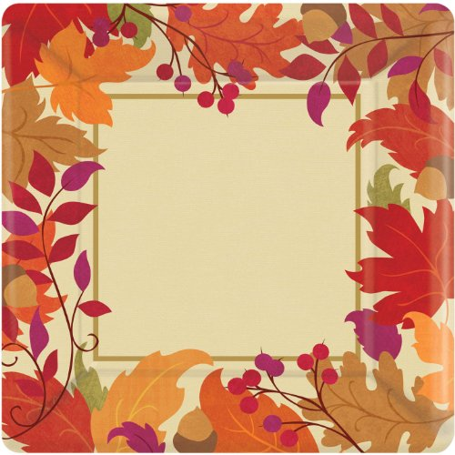 plate 10 inches medium count festive fall square