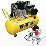 Wolf Dakota 90 Litre, 3HP, 14CFM, 240v, MWP 150psi, 10BAR Twin Cylinder Pump Belt Driven Air Compressor + 5 Piece Air Tool Kit which Includes: 5m Air Hose, Gravity Feed Spray Gun, Tyre Inflator, Long Nozzle Sprayer / Degreasing Gun and Blow Gun