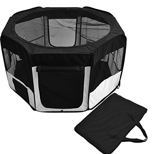 Outsunny - Box per Animali Cani Gatti recinzione per Cuccioli pieghevole 125 x 48 x 58 cm / 114 x 45 x 58 cm bianco-nero (125 x 48 x 58 cm)